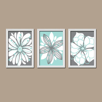 Wall Art Canvas Artwork Charcoal Gray Aqua Blue Flower Petal Burst Outline Dahlia Floral Bloom Set of 3 Prints Decor Bedroom Bathroom Three