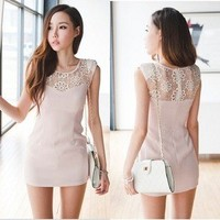 2012 New Women's Fashion Lace Embroidery Sleeveless Slim Dress 010