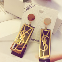 YSL shining golden letter earrings