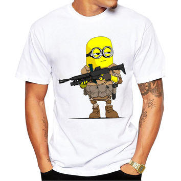 Minion Soldier Men's Short Sleeve Casual White T-Shirt
