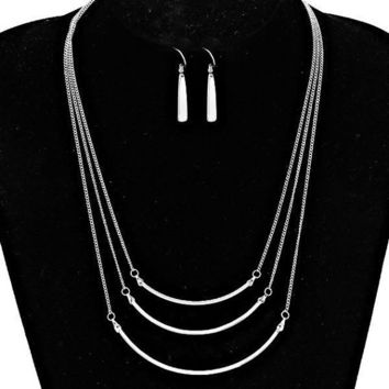 Silver Triple Three Row Tanner Bar Necklace & Earring Set