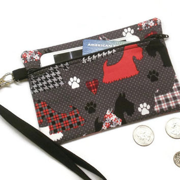Scotties coin purse wristlet, Scottish Terrier gift, Scotties clutch, Scotties wallet, dog lover gift, under 20 gift, dogs wristlet