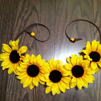 Sunflower Headband, Flower Crown, Flower Halo, Festival Wear, EDC, Ultra Music Festival, Ezoo, Coachella