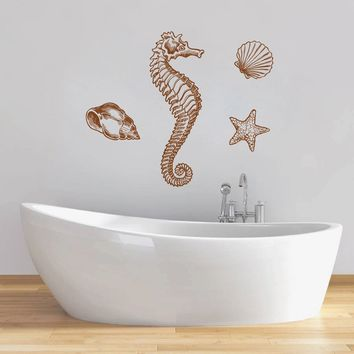 ik1275 Wall Decal Sticker seahorse star shells marine animals bedroom bathroom