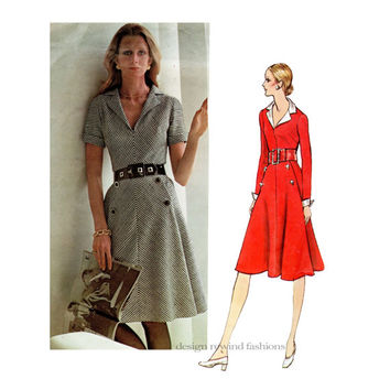 1970s VOGUE 2627 DRESS PATTERN V-Neck Bias Cut Cocktail Dress Molyneux Vogue Paris Original Bust 40 Size 18 Plus Size Womens Sewing Patterns