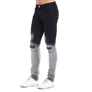 2017 Gradient Color Ripped KneeNew Men Biker Jeans Fashion Casual Skinny Slim Ripped Hip Hop Urban Jeans vT0278