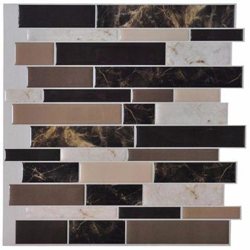 ONETOW 6 Tiles Peel and Stick Wall Paper Vinyl Sticker Kitchen Backsplash Tiles, 12' x 12' Marble Design