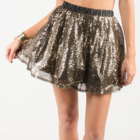 Sparkly A-Line Skirt - Gold /
