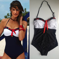 Retro One Piece Bathing Suit Patchwork Bow Swimsuit Monokini Bodysuit