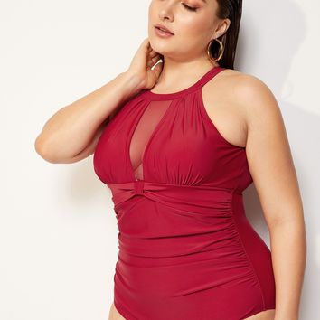 Plus Contrast Mesh Ruched Cut-out One Piece Swimsuit