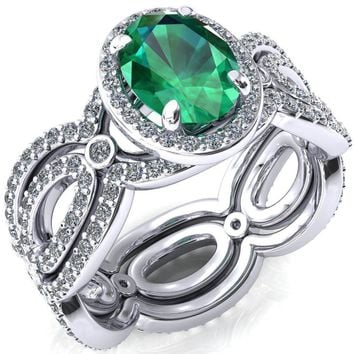 Polaris Oval Emerald 4 Claw Prongs Diamond Halo Full Eternity Accent Ring