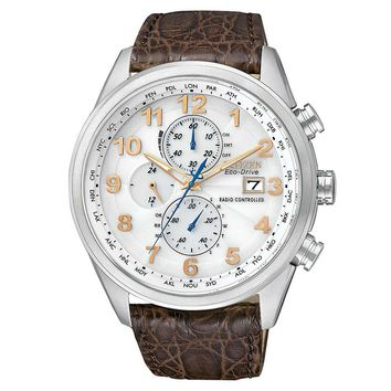 Citizen AT8010-23A Men's Limited Edition World Chronograph A-T White Dial Leather Strap Dive Watch