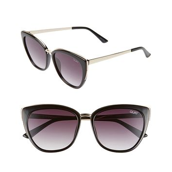 Quay Australia - Honey Cat Eye Sunglasses - Black/Smoke