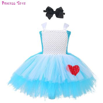 Cute Princess Alice in Wonderland Girl Tutu Dress Blue White Baby Girls Birthday Cosplay Costume Kids Halloween Holidays Clothes
