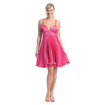 CLEARANCE - Fuchsia Party Dress Pleated Spaghetti Strap Short Dress