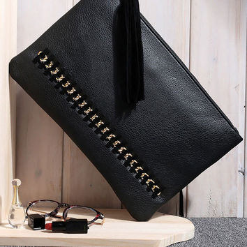 Black Rivets Zippered Clutch Bag