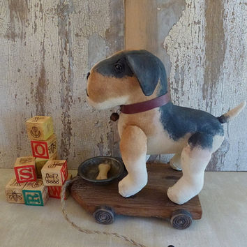 Dog pull toy: vintage look, soft sculpture, artist bear pull toy. A perfect decoration for a nursery, child's room or a corner in your home!