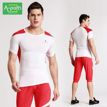 A-path Mens Running T-Shirts Pants Sport Suit for Fitness Jogging Running Tights Yoga Set Men Gymnastic Unitards Sports Clothing