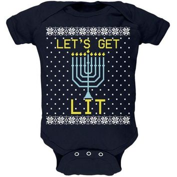 DCCKU3R Menorah Get Lit Ugly Hanukkah Sweater Soft Baby One Piece