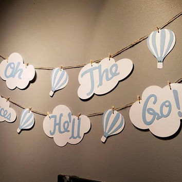 oh the places you'll go birthday, hot air balloon decorations, cloud party decorations, shower garland, cloud banner, cloud bunting