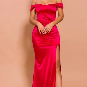 He's Waiting Red Satin Short Sleeve Off The Shoulder High Slit Fit and Flare Maxi Dress With Train