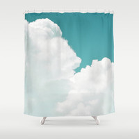 Mint Sky 2 - Shower Curtain, White Cloudscape Bath Accent Curtain, Vanity Bathroom Beach House Style Hanging Tub Backdrop.  In 71x74 Inches