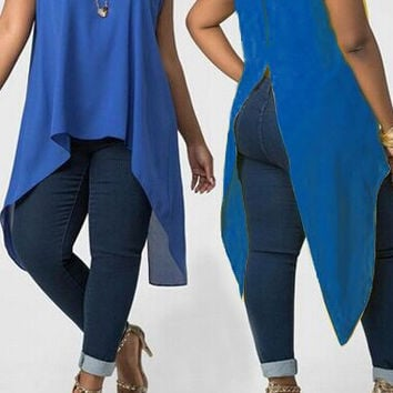 Sleeveless Asymmetrical Hem Top