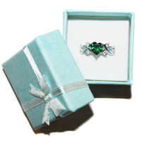Emerald Heart Shaped Ring – Green Cubic Zirconia in Box
