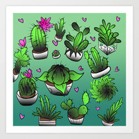 Beautiful Cactus Art Print by Meg Wynne