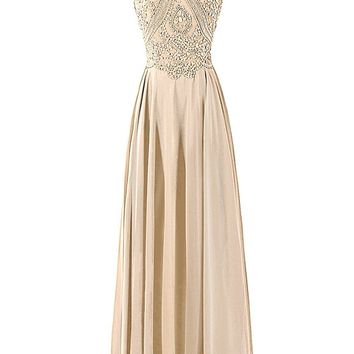TDHQ Women's Long Prom Dress Halter Chiffon Evening Gowns With Sequins & Beads