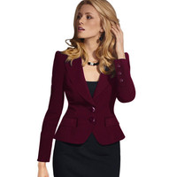 Hot Popular 2017 Trending Fashion Women Slim Button Business Casual Suit Outerwear Jacket _ 10599