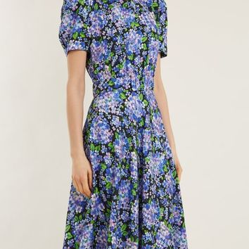Floral-print puff-sleeves silk dress | Vika Gazinskaya | MATCHESFASHION.COM UK