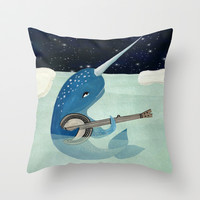 Narwhal's Aquarelle - Narwhal Plays Banjo Throw Pillow by Prelude Posters