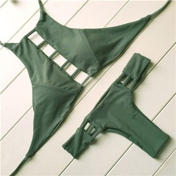 Bae High Neck Halter Cut Out Hollowed Out Cheeky Brazilian Bikini Set in Green