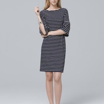 White House Black Market 3/4-Bell Sleeve Knit Shift Dress