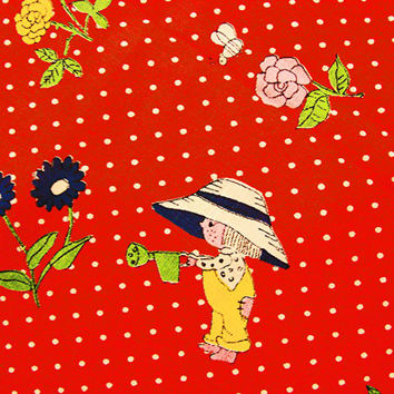 Vintage 1970s Fabric Kids Juvenile Novelty Cotton Fabric Red Girls with Watering Can in Garden