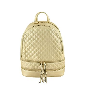 Gold Metallic Quilted Backpack