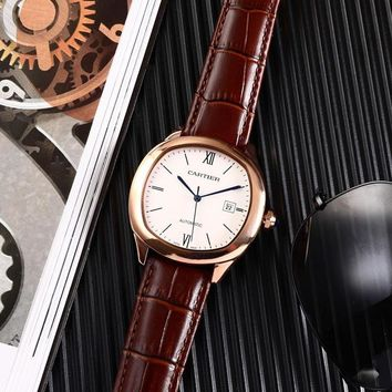 KUYOU C003 Cartier Automatic Leather Watchand Watch Maroon Rose Gold White