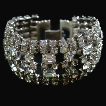 Wide Clear Rhinestone Bracelet, With Round And Princess Cut, In Silver Tone, Bridal Jewelry