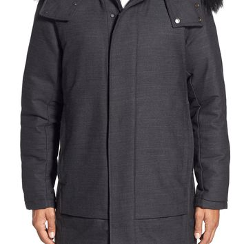 Theory 'Dillan' Trim Fit Hooded Longline Coat with Genuine Coyote Fur Trim | Nordstrom