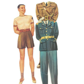 Original Vintage Paper Doll, Victory Volunteers, 1950's, Ephemera, Kitsch, Vintage Home Decor, Vintage Art, Americana, Vintage Military