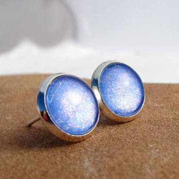Periwinkle Small Stud Earrings - Fairy Dust in Bright Silver