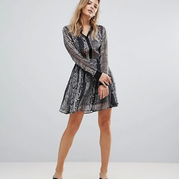 Brave Soul Lisa Snake Print Shirt Dress at asos.com