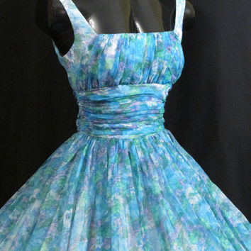 Vintage 1950's 50s Blue Green Watercolor Impressionist Floral Print Chiffon Organza Circle Skirt Prom Party Wedding Dress