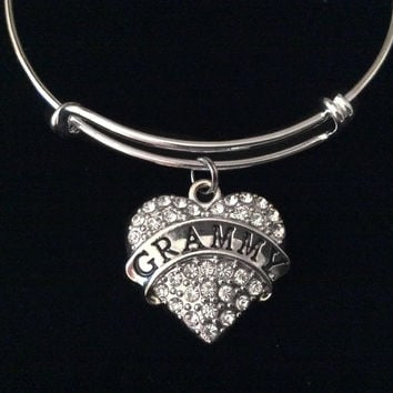 Grammy Heart Silver Expandable Charm Bracelet Rhinestone Adjustable Bangle Grandmother Gift
