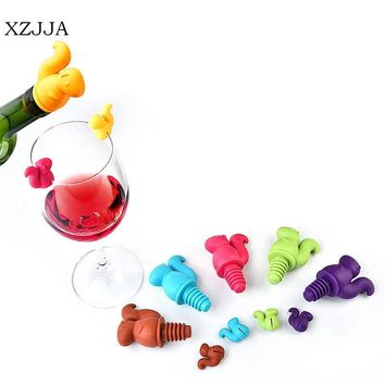 XZJJA  6+1pcs/pack Cute Squirrel Wine Bottle Stopper with Silicone Drink Glass Cup Markers Recognizer Labels Party Wine Tools