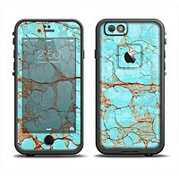 The Cracked Teal Stone Apple iPhone 6 LifeProof Fre Case Skin Set