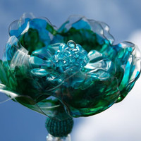Peacock Brooch Bouquet jeweled wedding wand, Chihuly inspired, bridal, heart, Tiffany blue, , teal, turquoise flower,