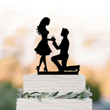 Engagement Cake topper funny, silhouette cake topper with wedding rings, unique custom cake topper for wedding, Just married cake topper