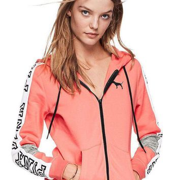 PEAP2Q victoria s secret pink fashion zipper hooded long sleeved sweater stitching and female pink